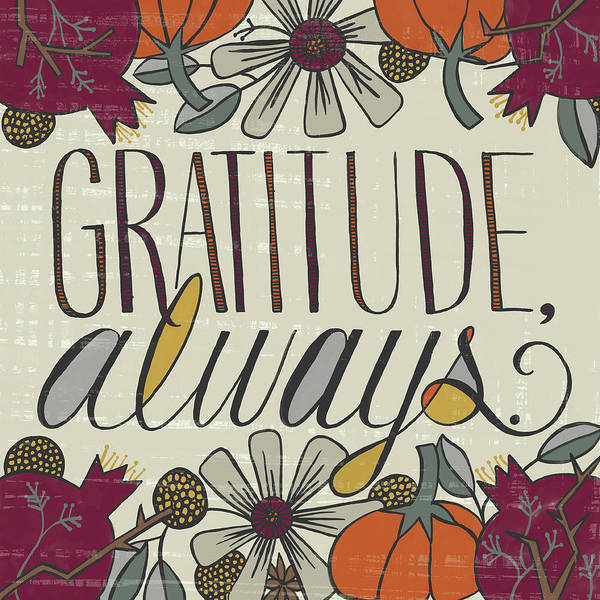Painting - Gratitude Always Fall Art Cream Background by Jen Montgomery