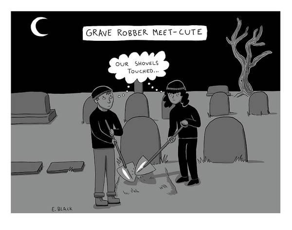 Drawing - Grave Robber Meet-cute by Ellie Black