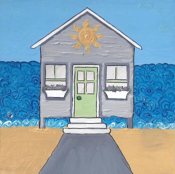 Gray Cottage On The Beach Art Print