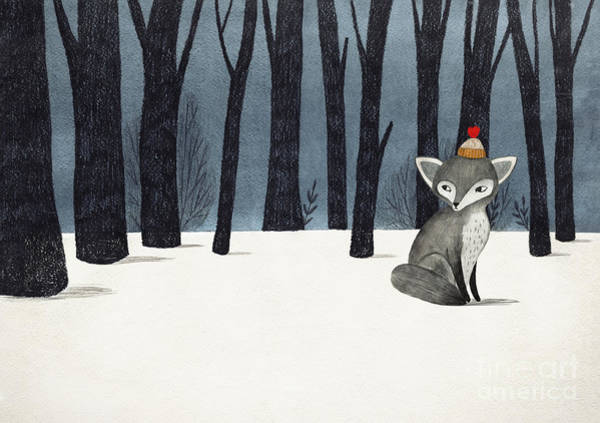 Fauna Digital Art - Gray Wolf Fox In A Winter Forest - by Lenaer