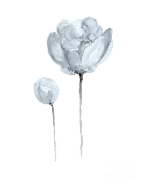 Wall Art - Painting - Grayish Blue Peony Bud And Blossom by Joanna Szmerdt