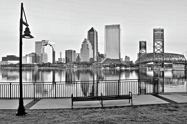Wall Art - Photograph - Grayscale Jacksonville At Riverside by Frozen in Time Fine Art Photography