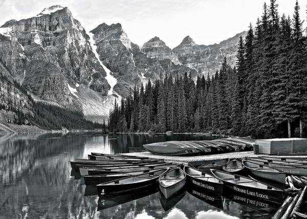Wall Art - Photograph - Grayscale Lake Moraine by Frozen in Time Fine Art Photography