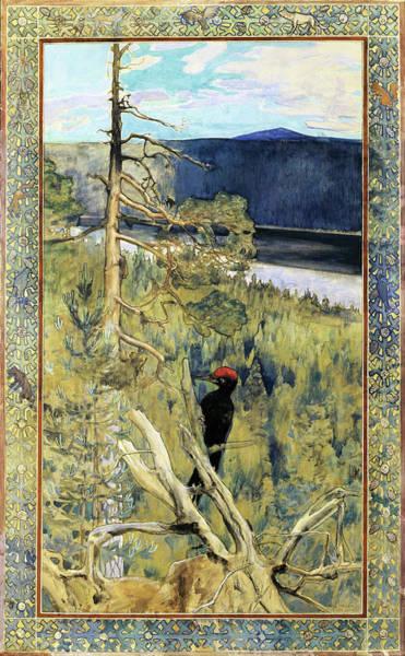 Wall Art - Painting - Great Black Woodpecker - Digital Remastered Edition by Akseli Gallen-Kallela
