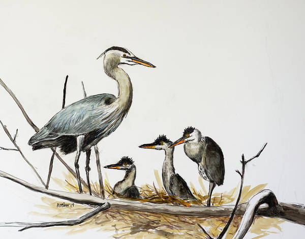 Painting - Great Blue Heron Acrylic Ink 3 by Rick Mosher