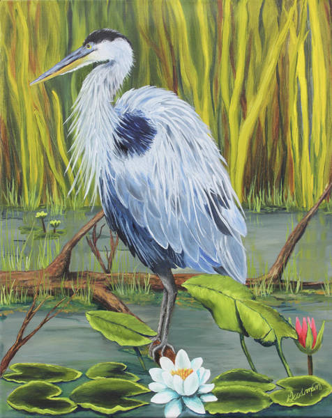 Bullrush Painting - Great Blue Heron No. 1 by Patricia Goodman