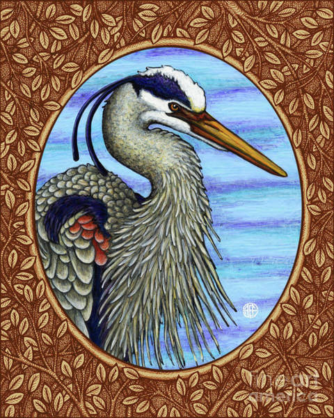 Painting - Great Blue Heron Portrait - Brown Border by Amy E Fraser