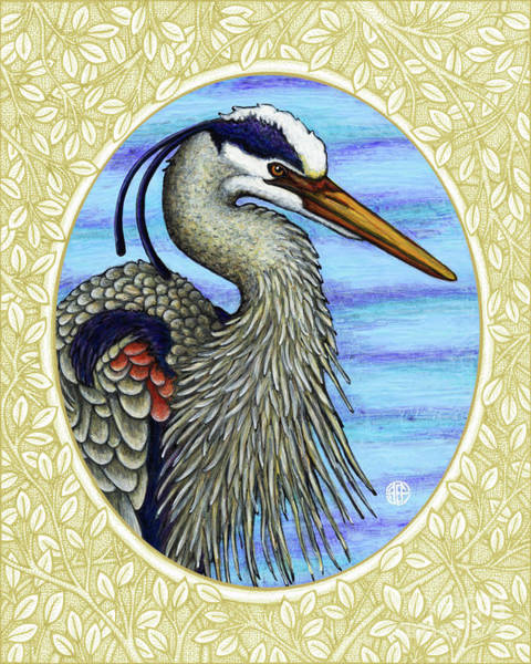 Painting - Great Blue Heron Portrait - Cream Border by Amy E Fraser