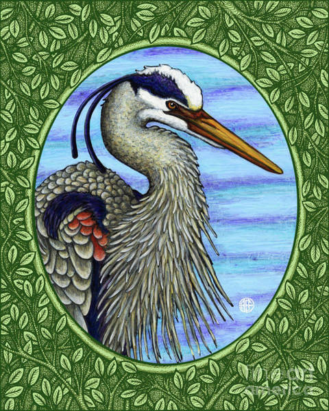 Painting - Great Blue Heron Portrait - Green Border by Amy E Fraser