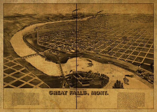 Wall Art - Mixed Media - Great Falls Montana Vintage City Street Map 1891 by Design Turnpike