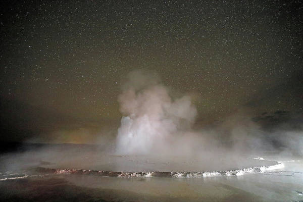 Photograph - Great Fountain Geyser At Night by Jean Clark
