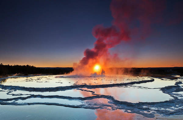 Geothermal Photograph - Great Fountain Geysir by Lightpix