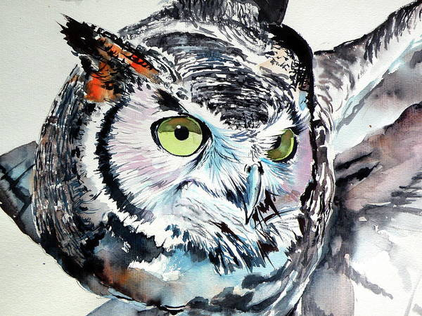 Wall Art - Painting - Great Horned Owl Cd by Kovacs Anna Brigitta