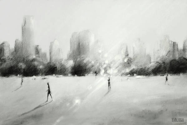 Monochrome Painting - Great Lawn Light Central Park Nyc by Beverly Brown