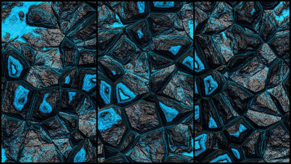 Digital Art - Great Light Blue Wall Abstract Triptych by Don Northup