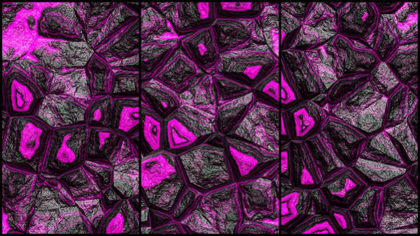 Digital Art - Great Magenta Wall Abstract Triptych by Don Northup