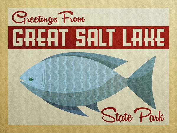 Great Lakes Digital Art - Great Salt Lake State Park Blue Fish by Flo Karp