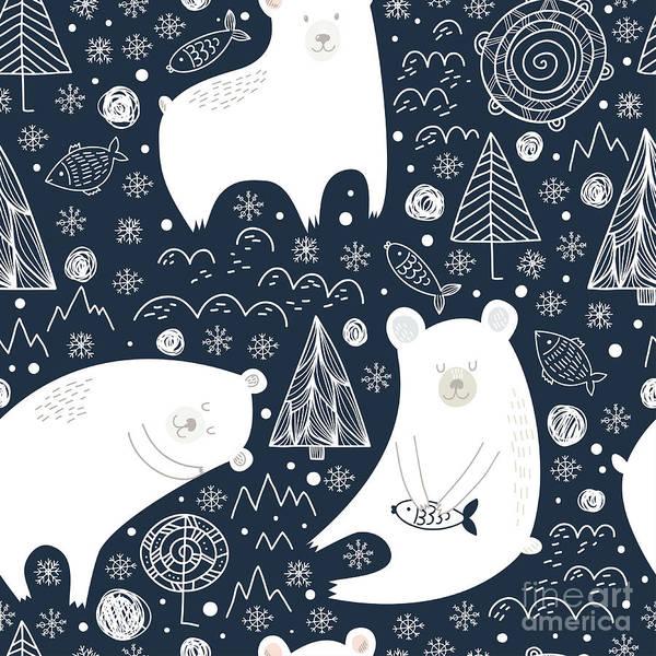 Arctic Wall Art - Digital Art - Great Seamless Pattern With Cute Polar by Veron ice