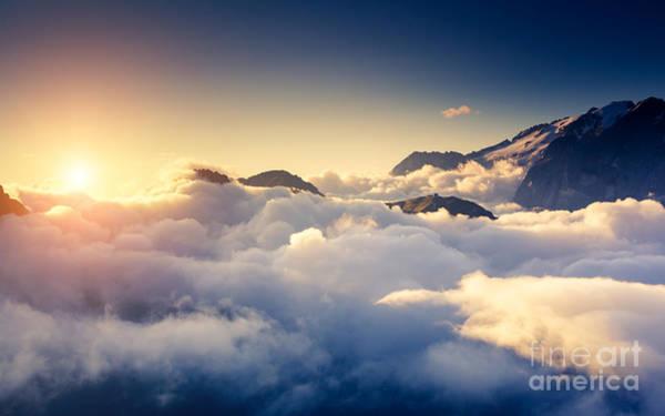 Great View Of The Foggy Val Di Fassa Art Print