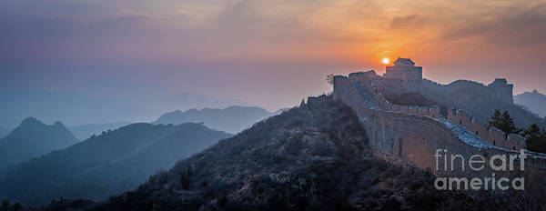 Wall Art - Photograph - Great Wall Dusk Panorama by Inge Johnsson