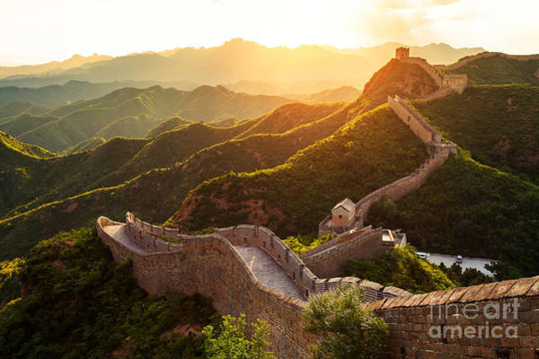 Border Wall Art - Photograph - Great Wall Under Sunshine During Sunset by Zhu Difeng