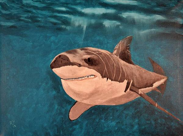 Serial Killer Painting - Great White Shark by Russell Halsema