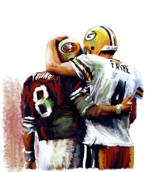 Painting - Greatness  Brett Favre And Steve Young  by Iconic Images Art Gallery David Pucciarelli