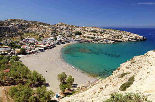 Greece Photograph - Greece, Crete, Matala, Village And Beach by Soberka Richard / Hemis.fr
