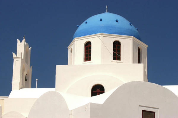 Wall Art - Photograph - Greece, Cyclades, Santorini, Blue Domed by Religious Images/uig