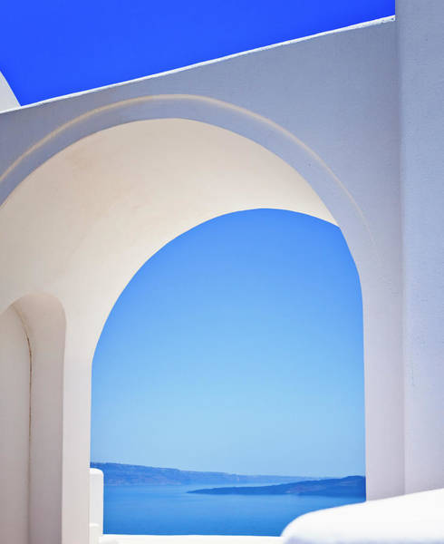 Wall Art - Photograph - Greek Arcade With View On Santorini by Mbbirdy