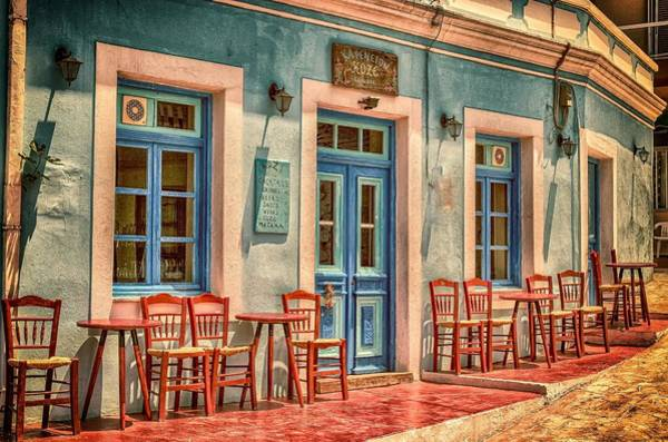 Chair Mixed Media - Greek Cafe Colorful Vintage Storefronts by Design Turnpike