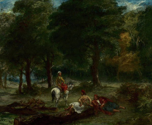 Wall Art - Painting - Greek Cavalry Men Resting In Forest, 1858 by Eugene Delacroix