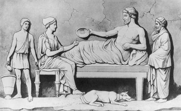 Ancient Greek Photograph - Greek Family Meal by Hulton Archive