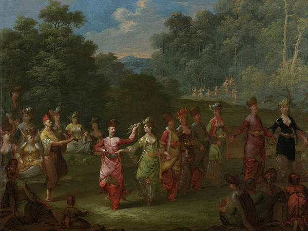 Painting - Greek Men And Women Dance The Khorra by Jean Baptiste Vanmour