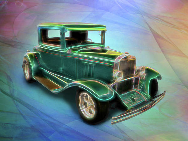Digital Art - Green 1930 Chevy by Rick Wicker