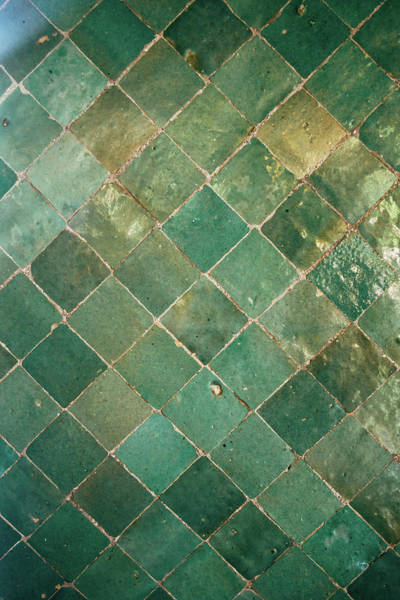 Wall Art - Photograph - Green Abstract Tile Pattern by Pati Photography