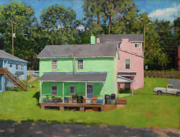 Wall Art - Painting - Green And Pink Houses In Fifeville by Edward Thomas