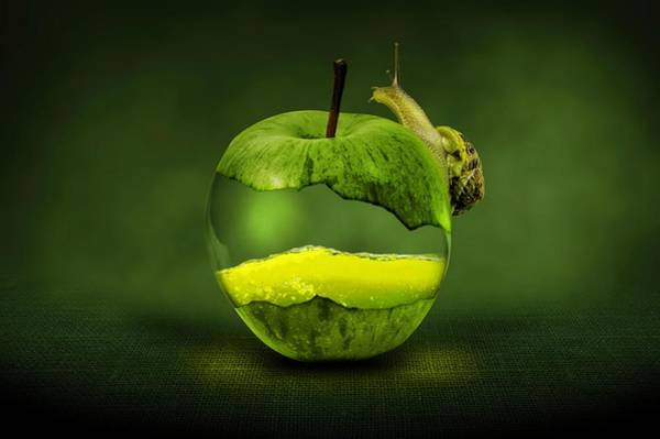Liquid Digital Art - Green Apple by ArtMarketJapan
