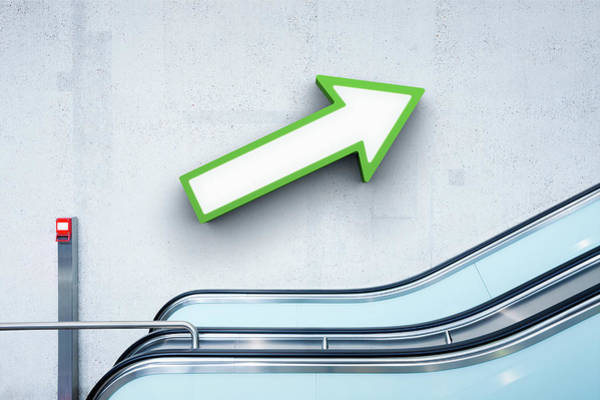 Surroundings Photograph - Green Arrow And Escalator by Jorg Greuel