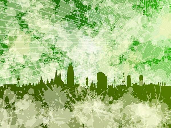 Digital Art - Green Barcelona Skyline by Alberto RuiZ