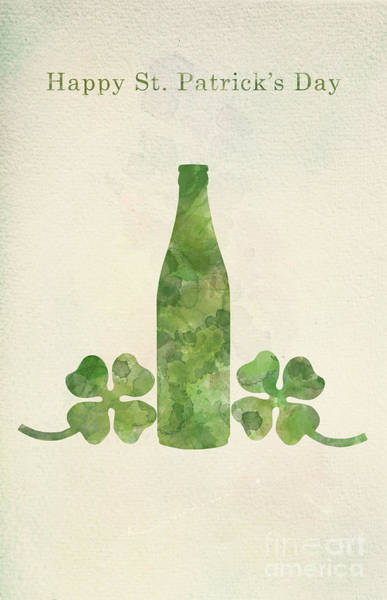 Four Leaf Clover Photograph - Green Beer Bottle And Four-leaf Clovers In Watercolor Painting. by Michal Bednarek