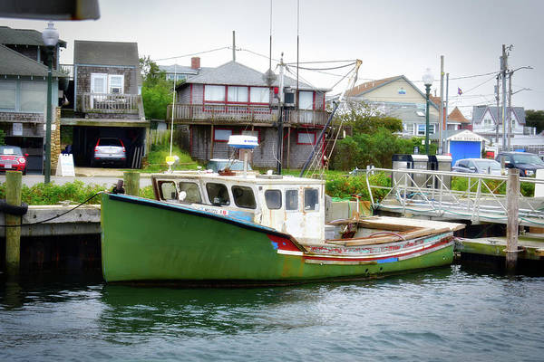 Wall Art - Photograph - Green Boat Marthas Vineyard Oak Bluffs Harbor Cape Cod Massachusetts by Thomas Woolworth