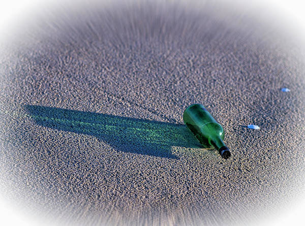 Photograph - Green Bottle On Beach by Robert Potts