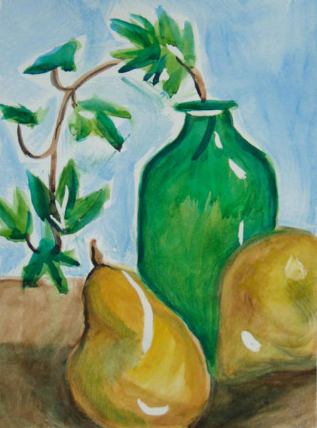 Painting - Green Bottle With Pears by Loretta Nash