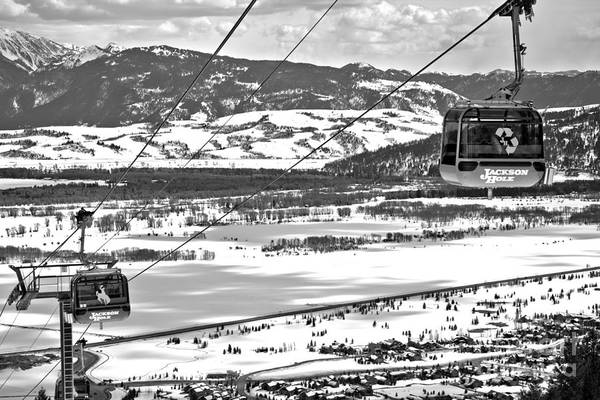 Photograph - Green Bridger Gondola Car Black And White by Adam Jewell