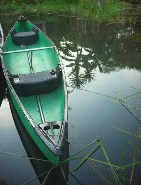 Wall Art - Photograph - Green Canoe On Mirror Lake by Douglas Barnett