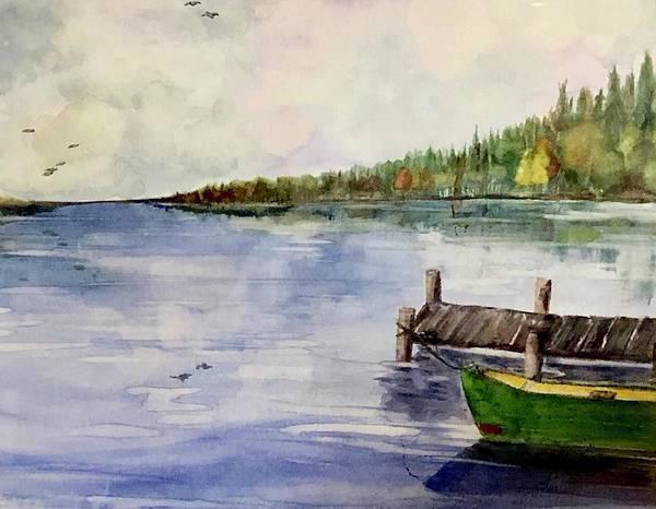 Adirondack Mountains Painting - Green Canoe by Sondra Lucianovic