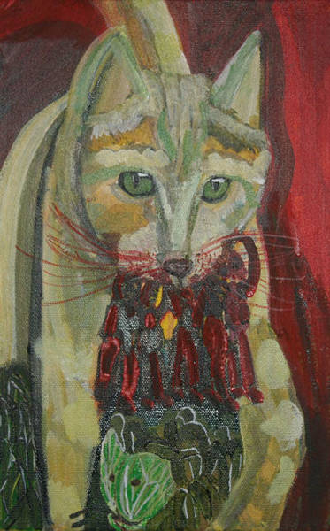 Mixed Media - Green Cat by Siobhan Dempsey