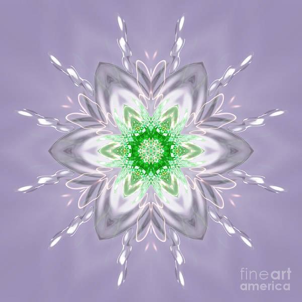 Digital Art - Green Centered Snowflake Flower by Rachel Hannah
