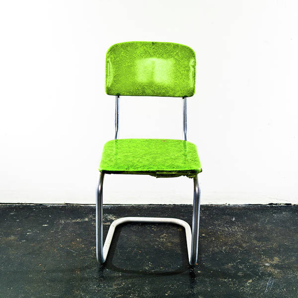 Green Jay Photograph - Green Chair On A Black Floor by Jay B Sauceda